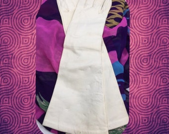Long Elegant Vintage White Leather Gloves