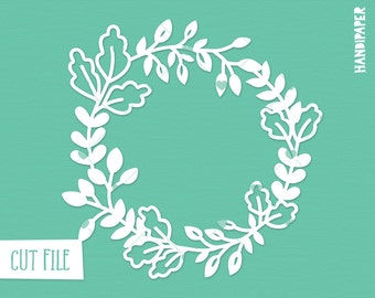 Wreath digital cut file (svg, dxf, png, eps) use with Silhouette, Cricut, in paper crafting, scrapbooking projects, card making, stencils.