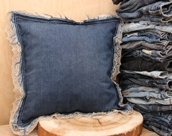Denim recycled decorative pillow , blue jeans pillow , handmade pillow with linen lace , upcycled denim pillow , country style pillow , lace