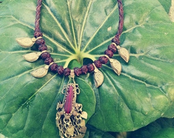 NECKLACE LEATHER VINTAGE, ethnic, tribal