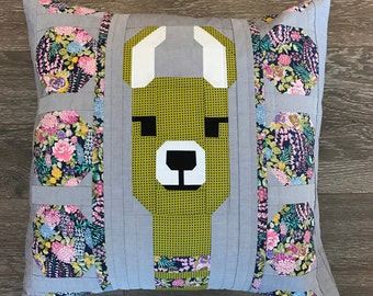 Llama Pillow Kit- Green- Lloyd and Lola Quilt Pattern- Elizabeth Hartman