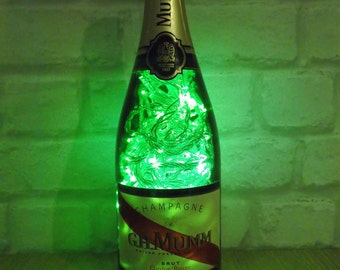 Upcycled Mumm champagne bottle lamp - ideal mother's day gift!
