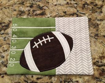 Football Mug Rug Super Bowl Party Coaster, Hostess Gift