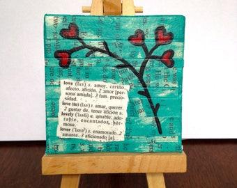 Almost ACEO Original Mixed Media Art love in espanol amor spanish flowers