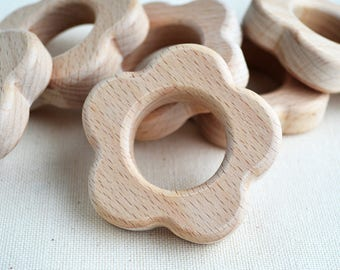 Unfinished Wooden Flower Shape - Wooden Flower Pendant - Unpainted Wood - Flower Teether DIY - Safe for teething
