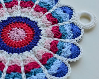Set of two crocheted potholders in vintage style