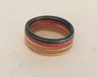 Recycled Skateboard Ring Charcoal/Rustic Red size 8.5