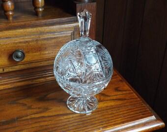 Vintage Glass Serving Dish; Vintage Glass Candy Dish; Vintage Compote