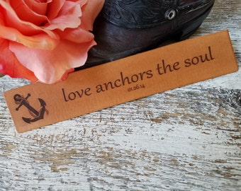 Custom Engraved Leather Bookmark, Anchor 3rd  Anniversary Gift