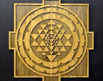 Sri Yantra Mandala Wall Art - Sacred Geometry Laser Cut Art - LaserTrees Item Number LT40106