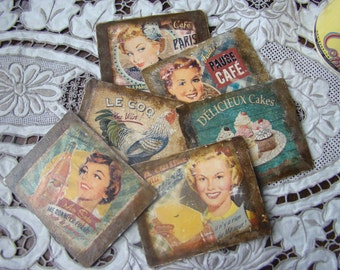 Vintage Découpage Coasters. 50's Housewife Coffee Coasters. 50's Style French Advert Coasters.