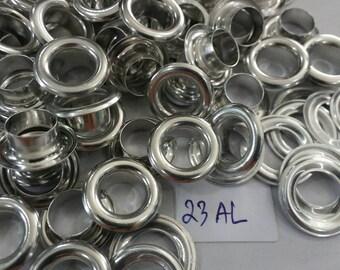 100 sets, 8 mm. Hole, Aluminium Eyelets Grommets with Washers, Aluminium Eyelets. Silver tone.
