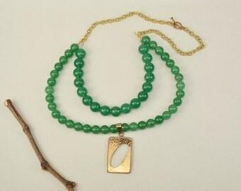 Green bib necklace, aventurine jewelry, Free shipping, layered necklace, big pendant necklace, geometric jewelry, double Strand choker
