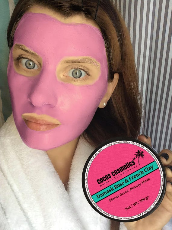 French pink clay and Damask Rose - Detox -Anti-Aging - Whitening face mask