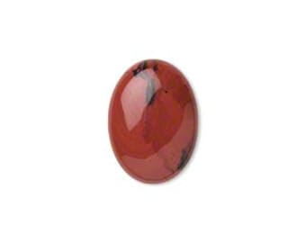 Cabochon, natural red jasper, oval 18x13mm, 2 each D325