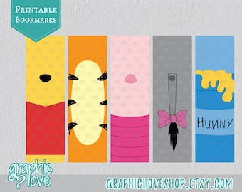 Winnie the Pooh Inspired Printable Bookmarks, Set of 5 designs | Digital JPG File, Instant download
