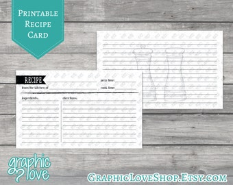 Printable Salt and Pepper 3x5 Double Sided Recipe Card | Digital JPG Files, Instant Dowload