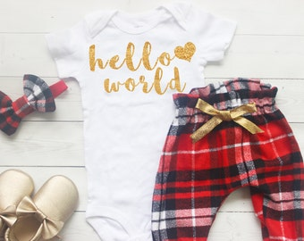 Hello world newborn outfit, Baby Take Home Outfit, Newborn Take Home Outfit, Winter Baby Coming Girl Outfit, My First Christmas