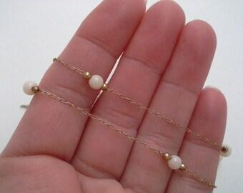 Coral Station Necklace, Vintage Angel Skin, Gold Filled Coral Coral Necklace, Coral Bead Chain, Coral Bead Necklace, Gold Filled Angel Skin