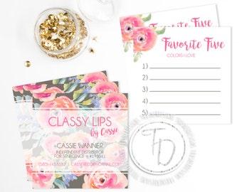 LipSense Business Card, SeneGence Business Card, LipSense Square Business Card, Floral Business Card Printable, Rodan + Fields Business Card