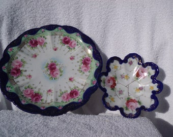 Handpainted Bavarian Style Plate and small Dish with Matching Artwork