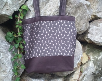 Brown shoulder bag small flamingos