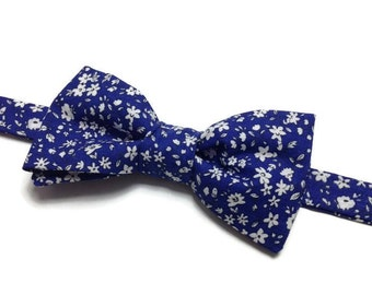 bow tie, bowtie, BowTie liberty, flowered, BowTie bow tie pre tied, blue flowers banches
