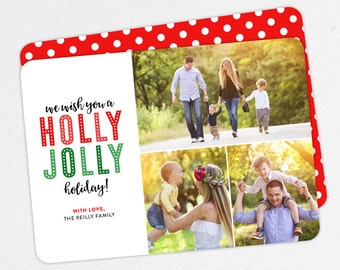 24 HOUR TURNAROUND, Family Holiday Photo Card, Family Christmas Photo Card, Holly Jolly Holiday, Fun Family Card, Printable, Printed, Red