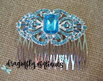 Hair Comb Blue Silver Wedding Formal Rhinestones Gift for Her Bridesmaids decorative hair comb hand crafted ooak one of a kind  /5