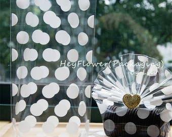 100pcs white polka wedding party favor bags ,plastic packaging, gift wrapping, party wedding cellophane bag