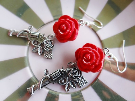 Gun and Rose Earrings Guns Red Roses Wild West Cowboy Western 80's 80s Eighties Costume Retro Vintage Pinup Pin Up Rockabilly