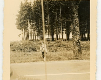 "Vintage photo ""Lines, Lady and Trees' vernacular photography snapshot, outdoor, abstract forest, graphic"