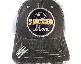 Soccer Mom Hat, Baseball Cap, Soccer Mom, Bling Trucker, Choose Colors, Team Colors, Soccer Bling, Soccer Mom Bling, Soccer Mom Gear, Hat
