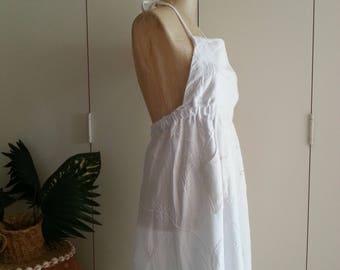 Upcycled Dress, Pinafore Dress, Apron Dress. Wearable Art Dress, Shabby Chic Boho Gypsy Dress, White Dress M/L