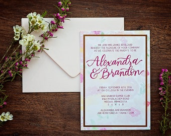 DEPOSIT ONLY // Watercolor Foil Floral Wedding Invitations // Calligraphy // Hand-lettered //