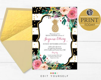 PINEAPPLE INVITATION, Instant Download, Gold Glitter Pineapple Invitation, Pineapple Bridal Shower Invitation, Gold Pineapple Invitation