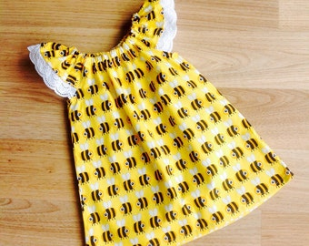 Girls Dress,  Flutter Sleeve Dress, Size 1 , Bee Honey Dress, baby girl dress, handmade dress, party dress, ready to ship