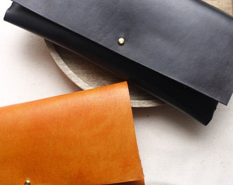 Black Leather interlocking clutch bag.  Leather bag, Leather purse.  Handmade in the UK