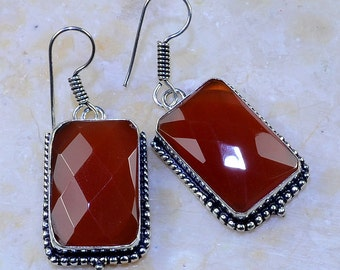 "Exquisite Faceted CARNELIAN Sterling Silver 2"" Dangle Earrings"