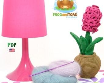 Amigurumi Crochet Flower Pattern - Hyacinth - PDF American Terminology