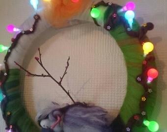 Pretty fairy door wreath. LED room decoration. Merino wool felt Faerie. Door decor. Hand made Decoration. Gorgeous room decoration.