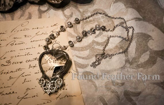 Handmade Vintage Crystal Heart Pendant with Silver Victorian Detail and Handmade Bead Necklace Chain
