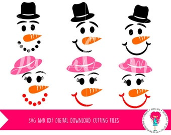 Snowman and Snow Woman Faces SVG / DXF Cutting Files For Cricut Explore / Silhouette Cameo & PNG Clipart Digital Download, Commercial Use Ok