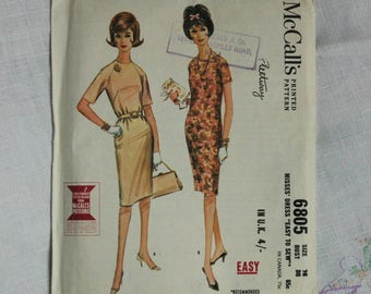 Vintage dress pattern, McCall's 6805, Sheath dress, 1963, size bust 36 inches