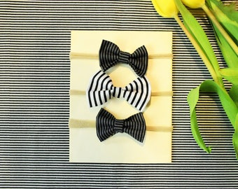 Black and Grey Striped Bow