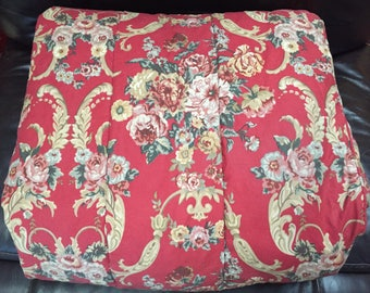 Vintage Ralph Lauren Full/Queen Comforter Bedspread Marseille Danielle Red Floral