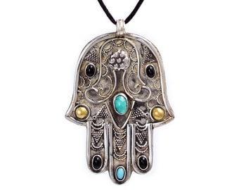 Hamsa Necklace Silver - SNC508