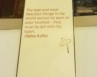 Hellen Keller Quote Jeweled Bookmark / laminated bookmark / traditional bookmark / sale