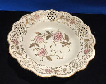 Antique Ornate Bowl - Hand Painted - Trimmed in Gold - Confusing Collectible