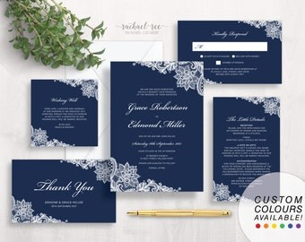 Navy Blue & White Lace Wedding Invitation Set | Printable Wedding Set | Elegant Wedding Set | Lace Wedding Set | Formal Wedding Set